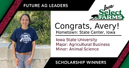 Avery Awarded Future Ag Leader Scholorship