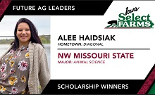Congratulations to Alee Haidsiak on your Iowa Select Farms Future Ag Leader Scholarship