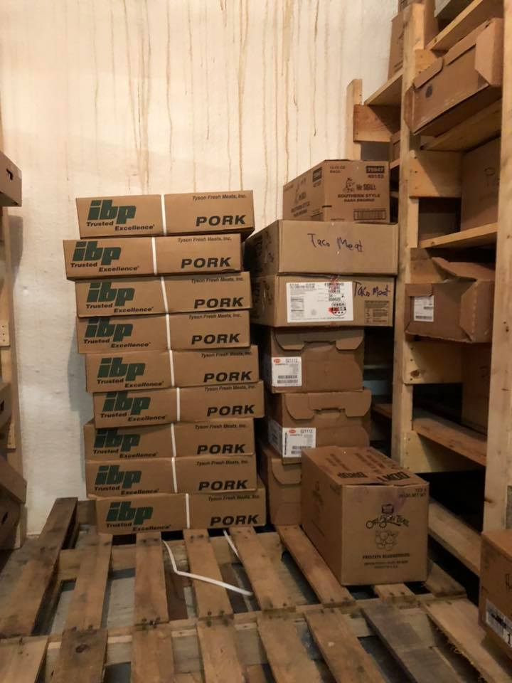 Boxes stored in freezer