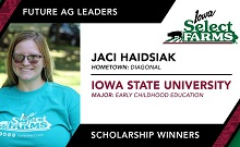 Congratulations to Jaci Haidsiak on your Iowa Select Farms Future Ag Leader Scholarship