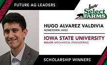 Congratulations to Hugo Alvarez Valdivia on your Iowa Select Farms Future Ag Leader Scholarship