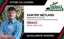 Congratulations to Sawyer Heitland on your Iowa Select Farms Future Ag Leader Scholarship