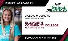 Congratulations to Jayda Mulford on Your Iowa Select Farms Future Ag Leader Scholarship